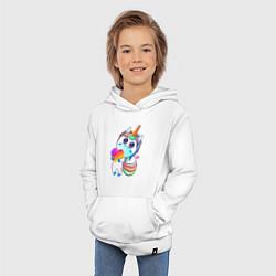 Толстовка детская хлопковая Единорог Likee цвета белый — фото 2