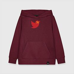 Толстовка детская хлопковая Team Trump цвета меланж-бордовый — фото 1