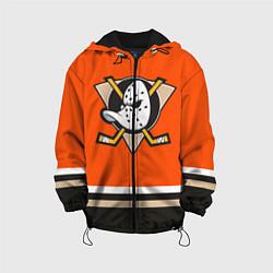 Детская 3D-куртка с капюшоном с принтом Anaheim Ducks, цвет: 3D-черный, артикул: 10107225805458 — фото 1