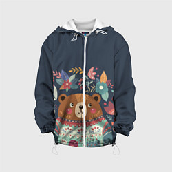 Детская 3D-куртка с капюшоном с принтом Осенний медведь, цвет: 3D-белый, артикул: 10111474405458 — фото 1