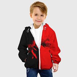 Детская 3D-куртка с капюшоном с принтом Lil Wayne: Black & Red, цвет: 3D-белый, артикул: 10131591505458 — фото 2