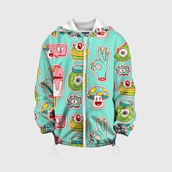Детская 3D-куртка с капюшоном с принтом Яркие монстрики, цвет: 3D-белый, артикул: 10143086105458 — фото 1