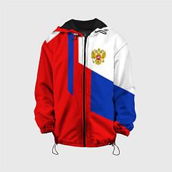 Куртка с капюшоном детская Russia: Geometry Tricolor цвета 3D-черный — фото 1