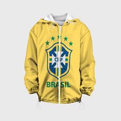 Детская 3D-куртка с капюшоном с принтом Brazil Team, цвет: 3D-белый, артикул: 10154256305458 — фото 1