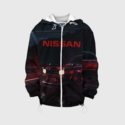 Детская 3D-куртка с капюшоном с принтом NISSAN, цвет: 3D-белый, артикул: 10208567505458 — фото 1