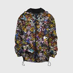 Детская 3D-куртка с капюшоном с принтом FNaF стикербомбинг, цвет: 3D-черный, артикул: 10210640905458 — фото 1