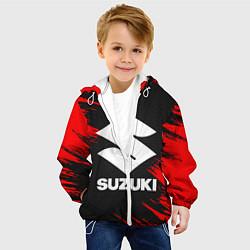 Детская 3D-куртка с капюшоном с принтом SUZUKI, цвет: 3D-белый, артикул: 10252267905458 — фото 2