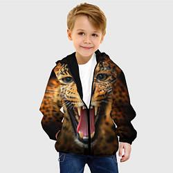 Куртка с капюшоном детская Рык леопарда цвета 3D-черный — фото 2