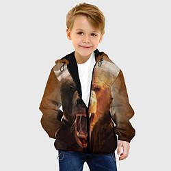 Детская 3D-куртка с капюшоном с принтом Рык медведя, цвет: 3D-черный, артикул: 10065044305458 — фото 2
