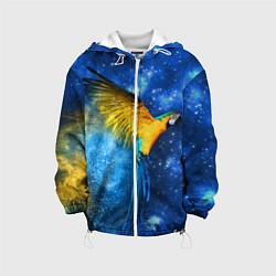 Детская 3D-куртка с капюшоном с принтом Космический попугай, цвет: 3D-белый, артикул: 10065277405458 — фото 1