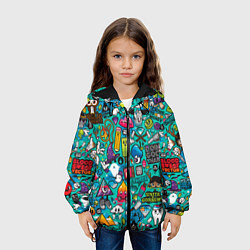 Детская 3D-куртка с капюшоном с принтом Стикербомбинг, цвет: 3D-черный, артикул: 10071235705458 — фото 2