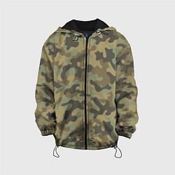 Куртка с капюшоном детская Камуфляж: хаки цвета 3D-черный — фото 1