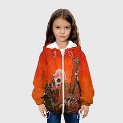 Куртка с капюшоном детская Скелет с гитарой цвета 3D-белый — фото 2