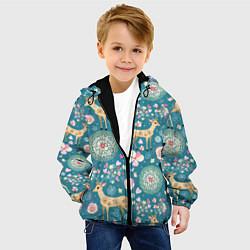 Куртка с капюшоном детская Олений узор цвета 3D-черный — фото 2
