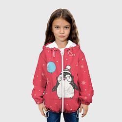 Детская 3D-куртка с капюшоном с принтом Влюбленная пингвинка, цвет: 3D-белый, артикул: 10079040805458 — фото 2
