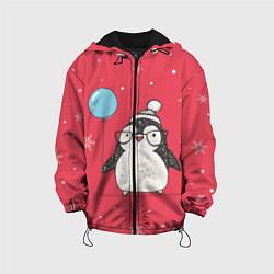 Куртка с капюшоном детская Влюбленная пингвинка цвета 3D-черный — фото 1