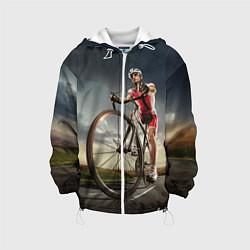 Куртка с капюшоном детская Велогонщик цвета 3D-белый — фото 1
