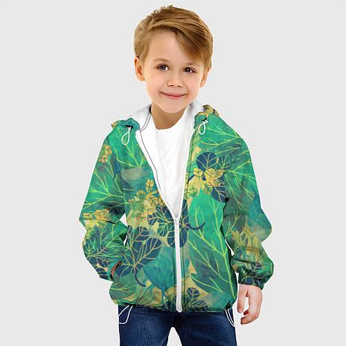 Детская куртка Узор из листьев / 3D-Белый – фото 4