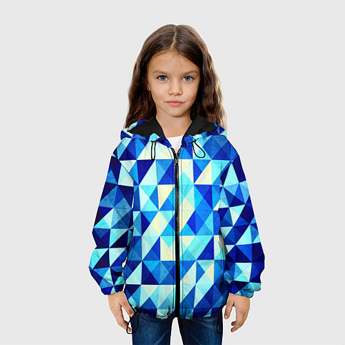 Детская куртка Синяя геометрия / 3D-Черный – фото 3