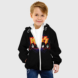 Детская 3D-куртка с капюшоном с принтом KISS: Death Faces, цвет: 3D-белый, артикул: 10083028105458 — фото 2