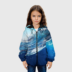 Детская 3D-куртка с капюшоном с принтом Стихия воды, цвет: 3D-черный, артикул: 10085388205458 — фото 2