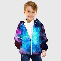 Куртка с капюшоном детская Голубая вселенная цвета 3D-белый — фото 2