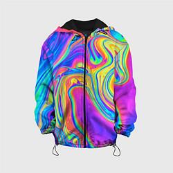 Куртка с капюшоном детская Цветные разводы цвета 3D-черный — фото 1
