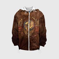 Детская 3D-куртка с капюшоном с принтом Герб СССР, цвет: 3D-белый, артикул: 10086873205458 — фото 1
