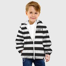 Детская 3D-куртка с капюшоном с принтом Заключенный, цвет: 3D-белый, артикул: 10093281805458 — фото 2