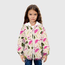 Детская 3D-куртка с капюшоном с принтом Нежный фламинго, цвет: 3D-белый, артикул: 10094235205458 — фото 2