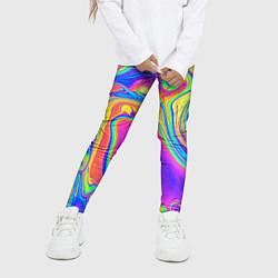 Леггинсы для девочки Цветные разводы цвета 3D — фото 2