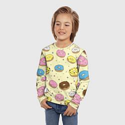 Лонгслив детский Сладкие пончики цвета 3D — фото 2