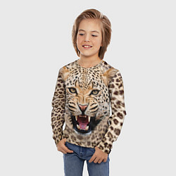 Лонгслив детский Взгляд леопарда цвета 3D — фото 2