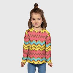 Лонгслив детский Цветные зигзаги цвета 3D — фото 2