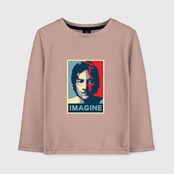 Лонгслив хлопковый детский Lennon Imagine цвета пыльно-розовый — фото 1