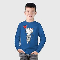 Лонгслив хлопковый детский Влюбленная котейка цвета синий — фото 2