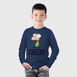Лонгслив хлопковый детский Moby цвета тёмно-синий — фото 2