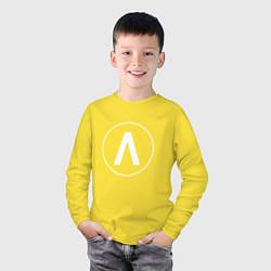 Лонгслив хлопковый детский Archive цвета желтый — фото 2