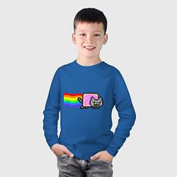 Лонгслив хлопковый детский Nyan Cat цвета синий — фото 2