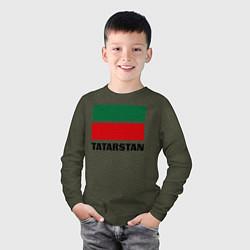 Лонгслив хлопковый детский Флаг Татарстана цвета меланж-хаки — фото 2