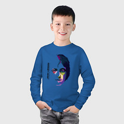 Лонгслив хлопковый детский John Lennon: Techno цвета синий — фото 2