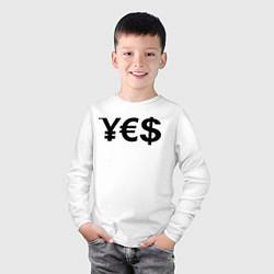 Лонгслив хлопковый детский YE$ цвета белый — фото 2