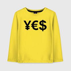 Лонгслив хлопковый детский YE$ цвета желтый — фото 1