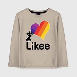 Лонгслив хлопковый детский Likee LIKE Video цвета миндальный — фото 1