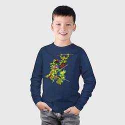 Лонгслив хлопковый детский Черепашки-ниндзя цвета тёмно-синий — фото 2