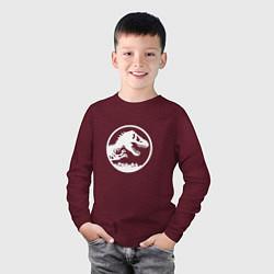 Лонгслив хлопковый детский Jurassic World цвета меланж-бордовый — фото 2