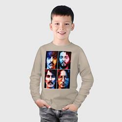 Лонгслив хлопковый детский THE BEATLES цвета миндальный — фото 2