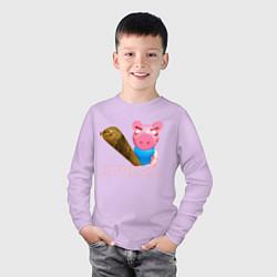Лонгслив хлопковый детский Roblox Piggy цвета лаванда — фото 2
