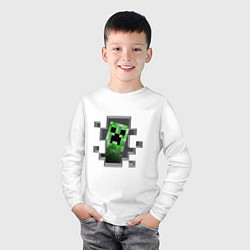 Лонгслив хлопковый детский Creeper Inside цвета белый — фото 2