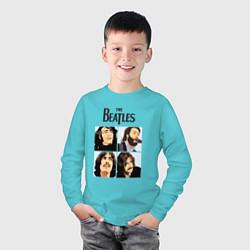 Лонгслив хлопковый детский The Beatles Stories цвета бирюзовый — фото 2